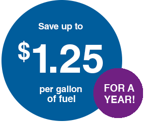 Save an additional 25¢ per gallon of fuel for a year®